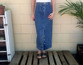 "24"" Vintage Italian Denim High Waisted Skirt"