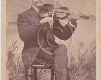 The ViolinistVintage photo- Antique CDV photograph