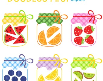 Fruit Jars Clip Art for Scrapbooking Card Making Cupcake Toppers Paper Crafts