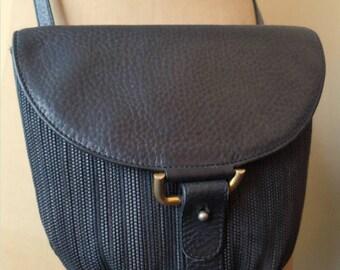 DELVAUX blue braided leather shoulder bag
