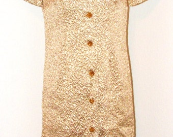 Vintage 1960s Metallic Gold Coat dress