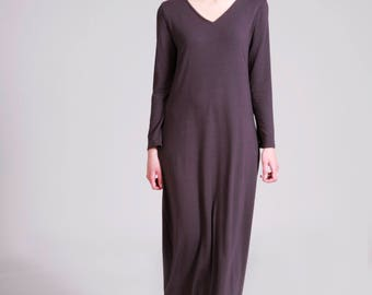 Maxi Dress, Gray Dress, A Line Dress, Loose Fit, Long Sleeve Dress, Maxi Boho Dress, Cotton Dress, V neck, Gray gown