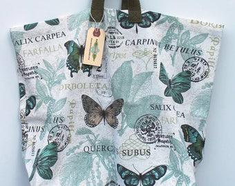 Canvas Bag: Blue Spa Butterflies, washable