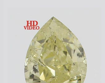 0.11 Ct Natural Loose Diamond Cut Pear Yellow Color SI1 3.40X2.50X1.70 MM K2667