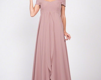 Dusty Rose Pink Chiffon Maxi Dress Bridesmaid Dress Off Shoulder Chiffon Prom Dress with Asymmetric Layered Skirt Maid of Honor C37