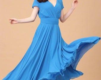 Dodger Blue Maxi Dress with V Neck & Waist Yoke - Cap Sleeve Maxi Dress - Blue Evening Dress - Royal Blue Maxi Dress - Prom Dress A157