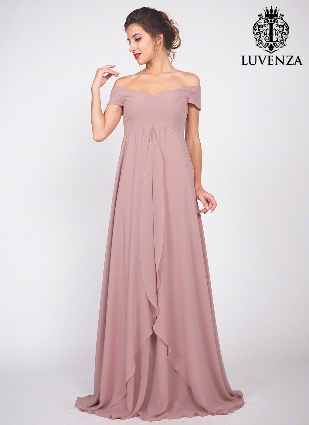 Dusty Rose Pink Chiffon Maxi Dress Bridesmaid Dress Off