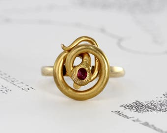 Antique Snake Ring, Victorian 14k & Ruby Snake Ouroboros Alternative Engagement Ring, Bohemian Statement Jewelry