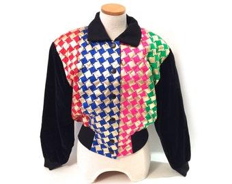 Vintage Escada Margaretha Ley Houndstooth Jacket Germany - Vintage Escada Jacket - Made In Germany - Vintage Black Gold Neon Escada Jacket