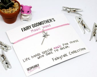 Fairy Godmother Bracelet, Godmother Gift, Charm Bracelet, Personalised Jewellery, Will You Be My Godmother, Fairy Wand, Princess Party Favor