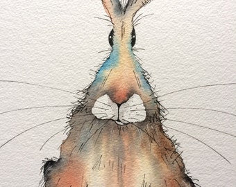 Rustle the sitting hare - Original watercolour hare painting