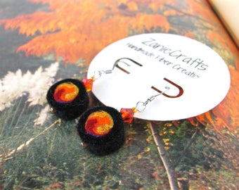 Felt earrings - wool bead earring - wool bead - fire earring - eco friendly - Lightweight earring - crystal bead - wearable art - gift her