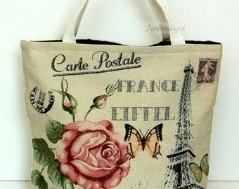 Tote bag Beach Yoga Holiday Shoulder Bag Book Bag Reusable Shopper Bag Market Bag Grocery Bag Cotton Fabric Large Vintage Paris Rose Eiffel