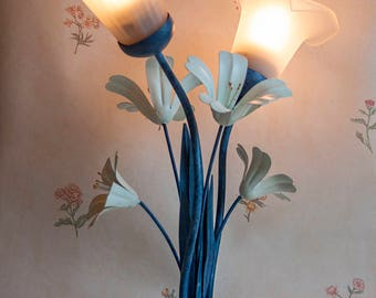 Vintage Blue Metal Toleware Table Lamp Light with White Frosted Glass Lily Shape Shades