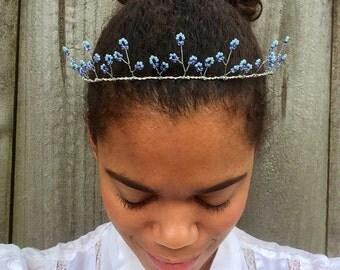 Light Blue Tiara, Wire Fairy Crown, Purple and Blue Wedding Crown, Bridal Hair Crown, Blue Tiara, Wedding Hair Accessory, Beaded Tiara