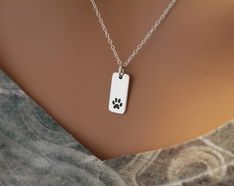 Sterling Silver Paw Print Pendant Necklace, Stamped Paw Print Necklace, Puppy Paw Print Necklace, Cat Paw Print Necklace, Dog Paw Print