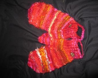 90s Handmade Handknit 100% Wool Gloves Mittens Fingerless Nepal Peru Fairtrade Beautiful Abstract Warm Winter Unique Rare New Unworn