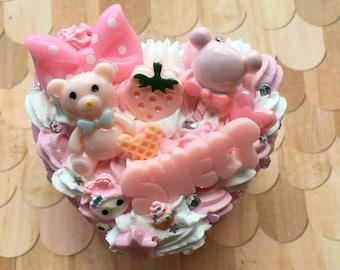 Pink Flower Bear Decoden Box