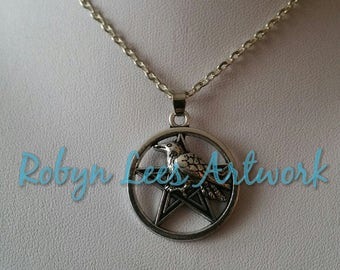 Silver Raven Crow Bird & Pentagram Pentacle Necklace on Silver or Black Chain or Black Cord. Gothic, Pagan, Wiccan, Nature, Costume