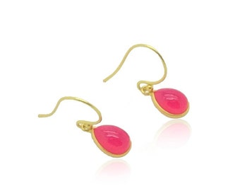 Pink chalcedony earrings, Fuchsia pink gemstone earrings, Dainty earrings, 18k gold earrings, Graduation gifts for her, Best friend gifts