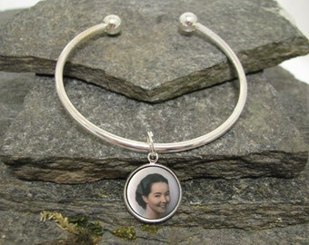 16mm Round Custom Photo Bracelet, Charm Bracelet, Personalized Bracelet