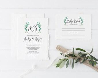 Printable Wedding Invitation Set | Floral Wedding Invitation Suite | Botanical Invitation Set | Invitation, RSVP, Details Card | WI-026