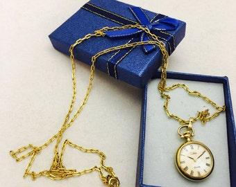 """Vintage Colibri Quartz Pendant Pocket Watch on 29"""" Chain Necklace"""