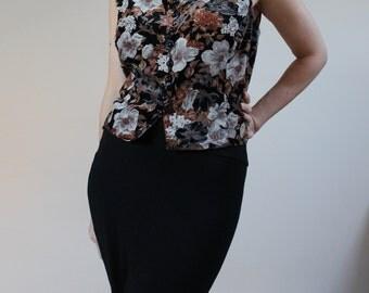 vintage ladies waistcoat velvet waistcoat womens waistcoat size 14 waistcoat 70s waistcoat 1970s patterned ladies waistcoat floral velvet