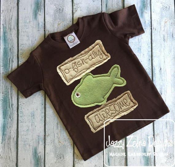 O-fish-ally Awesome Shabby Chic Appliqué design - fish appliqué design - vintage appliqué design - boy appliqué design - bean stitch