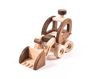 Child's Toy Digger, Wooden Toy, Christening Toy Gift, Christmas Toy,