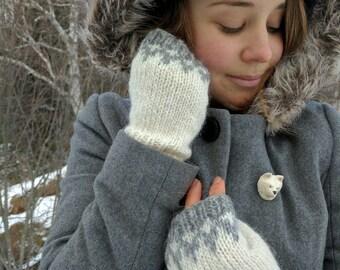 Icelandic Fingerless Mittens / Gloves Hand Knit in White and Grey/ Lett Lopi