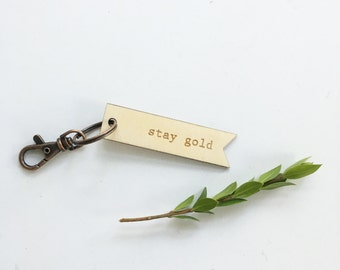 wooden key chain >> stay gold