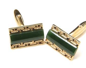 Vintage Gold Tone and Green Jade Rectangle Cufflinks Retro Mid Century