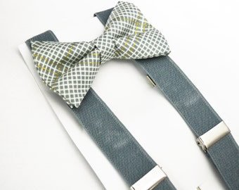 Gray and Gold Plaid bow tie and Light Gray Suspender Set for baby/toddler/teen/adult