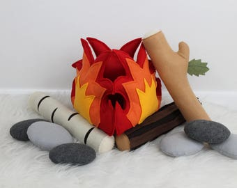 Felt Campfire, Campfire Play Set, Pretend Fire, Toy Campfire, Felt Fire Light Up Fire, Multi Logs, Rocks, Teepee, Tents, Camping Play