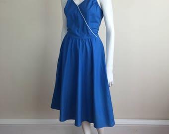 blue cotton halter neck sundress w/ full circle skirt & white piping trim 80s