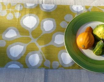"""12""""x58"""" Table Runner / 20""""x42"""" Table Topper from Swedish design Fabric SEDUM; White / Gray / Mustard Cotton Table Runner Modern Table Linens"""