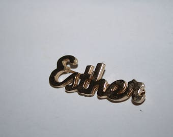Gold Tone Ester name Pin 1.5 inches