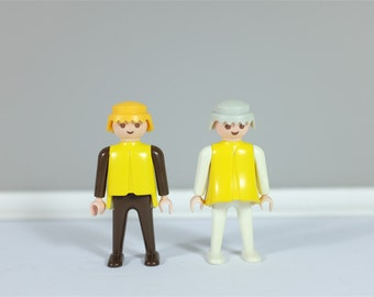 1974 Vintage Playmobil - Set of 2 retro Playmobil Geobra - Yellow, brown and cream Playmobil - Vintage toy from 1974