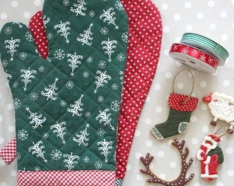 Large Oven Glove/ Jumbo Xmas Glove / Christmas Trees Oven Mitt / Christmas Stocking Oven Glove / Handmade Baking Mitt/ Cooking Kitchen Mitts