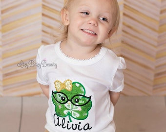 Girls St. Patrick's Day Shirt Embroidered Clover Glasses Face Green And Gold