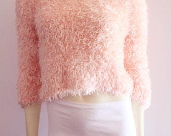 Most Excellent 90's Vintage Pink Furry Club Kid 3/4 Sleeve Crop Top