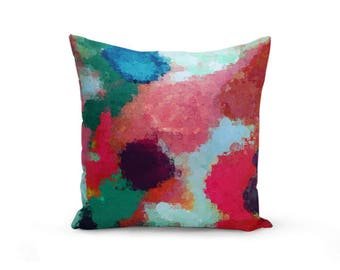 Colorful Throw Pillow Cover, Abstract pillow cover, pink aqua, teal purple, cushion cover, home decor Decorative Pillow Cover