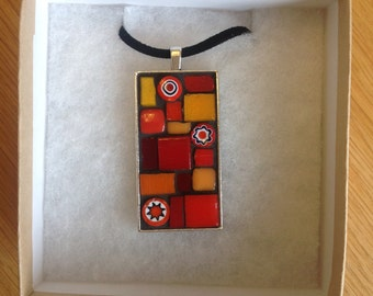 Mosaic Pendant - Red