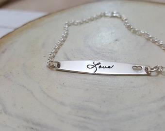 Handwriting Bracelet - Custom Actual Handwriting Jewelry - Signature Bracelet - Memorial Personalized Keepsake Gift
