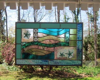 "Star Waves - Fused Glass Starfish with Blue and Green Glass:  Stained Glass Panel with Fused Glass Accents (approx 16.25"" wide x 10.5"" tall)"