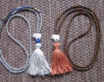 long beaded tassel necklace seed bead necklace elephant jewelry bohemian chic junk gypsies neutral boho yoga modern long beaded necklace