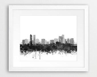 Denver Print, Denver City Skyline, Denver Wall Art, Grey Black White Watercolor Denver, Modern Wall Art, Home Office Decor, Printable Art
