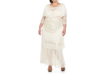 Plus Size Wedding Gown Cream Glam Prom Maxi Dress with Sleeves 20s Great Gatsby Downton Abbey Bridal Shower Wedding Reception Beach Wedding