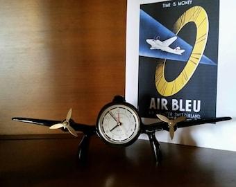 VINTAGE Airplane Clock - Aviation Propeller Clock - Sarsaparilla Reproduction Deco Clock - Deco Style Decor - Aviation & Clock Collectible